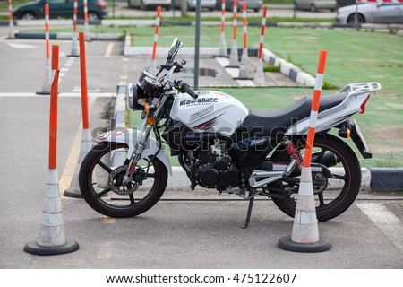 ST. PETERSBURG, RUSSIA - CIRCA AUG, 2016: Low-power motorcycle for drivers training is in driving school Nevo-Class on an autodrome. Russian driver training center