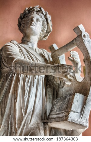 St. Petersburg, Russia - CIRCA March 2014: Sculpture of the Apollo Kifared (playing the cittern) IV in. BC (with Roman marble copies).