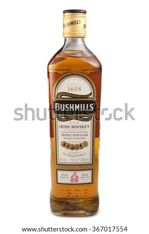 ST. PETERSBURG, RUSSIA - December 05, 2015: Bottle of Bushmills Original Irish Whiskey, Ireland - stock photo