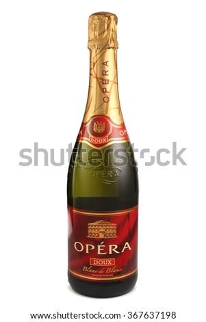 ST. PETERSBURG, RUSSIA - December 05, 2015: Bottle of Opera Blanc de Blancs Doux, France - stock photo