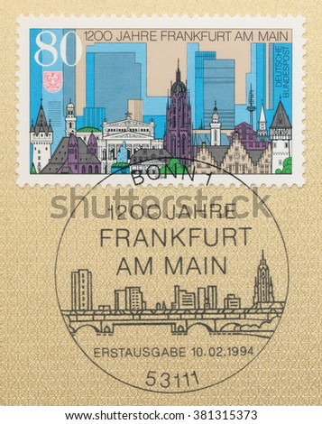 ST. PETERSBURG, RUSSIA - FEB 24, 2016: A first day of issue postmark printed in Bonn, Germany, shows Frankfurt Am Main, 1200th Anniversary, circa 1994