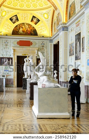 ST PETERSBURG, RUSSIA - JAN 24, 2015:Gallery of History of Ancient Painting is used to display works by outstanding Neo-Classical sculptor Antonio Canova (1757-1822) and his followers.
