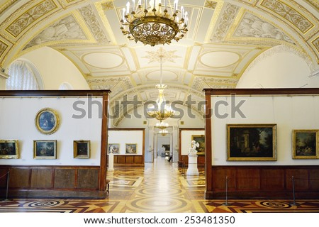 ST PETERSBURG, RUSSIA - JAN 25, 2015:State Hermitage is museum of art and culture. Room of French Art of 18th Century covers French art of 1730s-1760s and presents work of great masters of Rococo era - stock photo