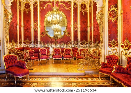 ST PETERSBURG, RUSSIA - JAN 25, 2015:State Hermitage is museum of art. Boudoir was part of apartments of Empress Maria Alexandrovna, wife of Alexander II. Elegant decor was created in 1853 by Bosse - stock photo