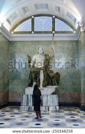 ST PETERSBURG, RUSSIA - JANUARY 24, 2015:Collection of Roman art in Hermitage embraces chronological period from Republic (1st century B.C.) until late Empire (4th century B.C.) - stock photo