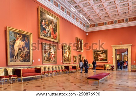 ST PETERSBURG, RUSSIA - JANUARY 25, 2015:State Hermitage is museum of art and culture. Museum owns 22 paintings, 19 sketches and some drawings of Rubens, great Flemish artist of early 17th century - stock photo