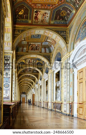 ST PETERSBURG, RUSSIA - JANUARY 25,2015:State Hermitage is museum of art and culture. One of oldest museums in world, it was founded in 1764 by Catherine Great