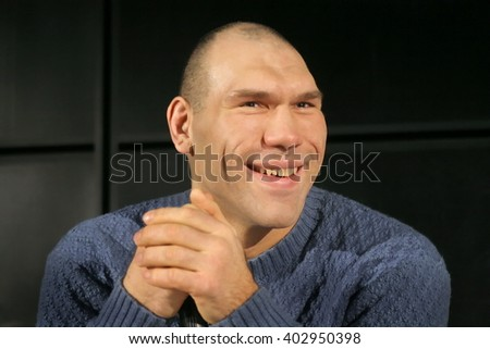St. Petersburg, Russia - January 31, 2009 : 2 times WBA Heavyweight Champion Nikolay Valuev on press conference.