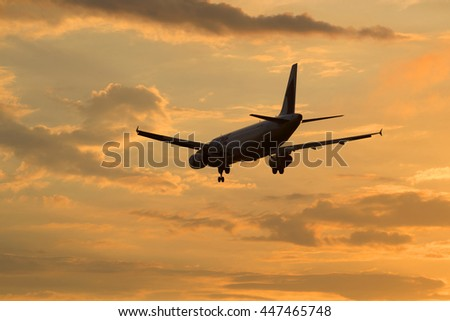 ST. PETERSBURG, RUSSIA - JULY 03, 2016: Airbus A320-231 (ER-AXO) airlines Fly One flying in sunset sky