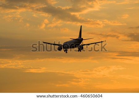 ST. PETERSBURG, RUSSIA - JULY 03, 2016: Airbus A320-231 (ER-AXO) airlines Fly One flying in the evening sky
