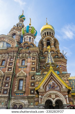 ST PETERSBURG, RUSSIA - JULY 28, 2015: Church of the Savior on Spilled Blood (Cathedral of Resurrection). It is an architectural landmark of city and a unique monument to Alexander II the Liberator.