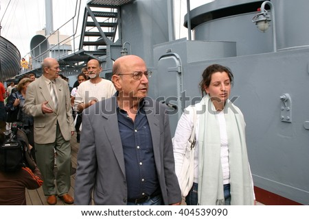 "ST. PETERSBURG, RUSSIA - July  01, 2004: Famous Greek  film director Theo Angelopoulos visited the Museum ""cruiser Avrora"" in Saint-Petersburg"