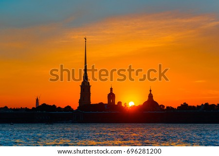 ST.PETERSBURG/RUSSIA - JULY 28, 2017.  Orange sunset over Peter and Paul Fortress of St. Petersburg