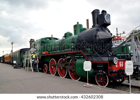 ST. PETERSBURG, RUSSIA - JULY 23, 2015: The passenger engine of Page 68 costs at the platform