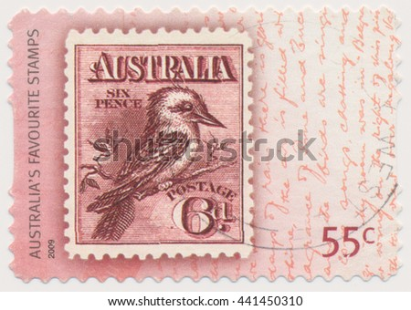ST. PETERSBURG, RUSSIA - JUNE 22, 2016: A postmark printed in Australia, shows Kookaburra (Kingfisher) 1913, series old postage stamp on a new, circa 2009 - stock photo