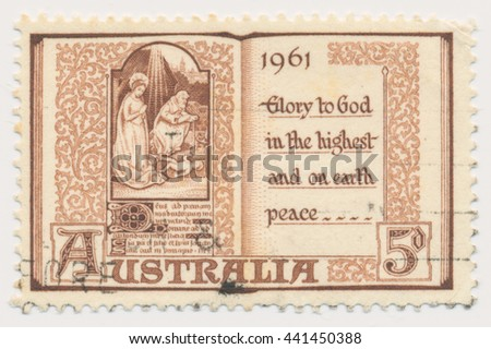 ST. PETERSBURG, RUSSIA - JUNE 22, 2016: A postmark printed in Australia, shows Page from Book of Hours, 15th Century, circa 1961 - stock photo