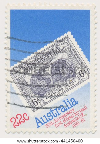 ST. PETERSBURG, RUSSIA - JUNE 22, 2016: A postmark printed in Australia, shows Southern Cross over Hemispheres (1931), old postage stamp on a new, circa 1981 - stock photo