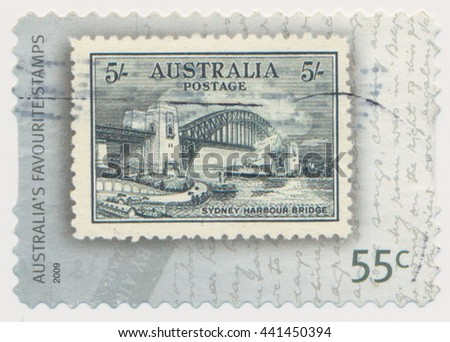 ST. PETERSBURG, RUSSIA - JUNE 22, 2016: A postmark printed in Australia, shows Sydney Harbor Bridge (1932), series old postage stamp on a new, circa 2009 - stock photo