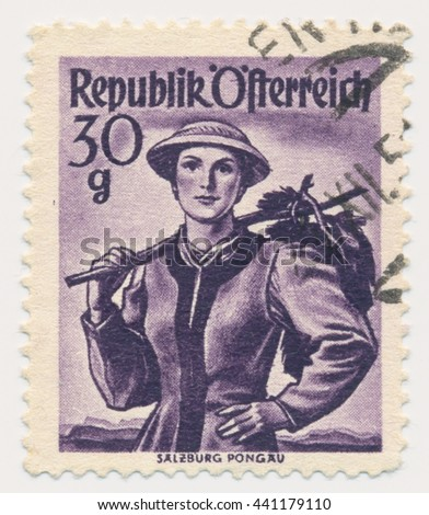 ST. PETERSBURG, RUSSIA - JUNE 22, 2016: A postmark printed in Austria, shows Costume of Salzburg, Pongau, series Austrian Costumes, circa 1948
