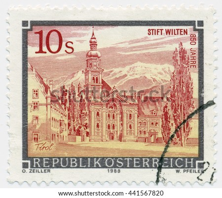 ST. PETERSBURG, RUSSIA - JUNE 21, 2016: A postmark printed in Austria, shows Monastery, Stift Wilten, Tirol, circa 1988