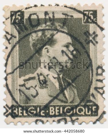 ST. PETERSBURG, RUSSIA - JUNE 23, 2016: A postmark printed in BELGIUM, shows portrait of King Leopold III (1901-1983), circa 1938 - stock photo