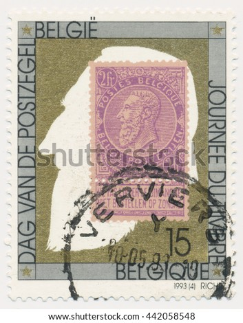ST. PETERSBURG, RUSSIA - JUNE 23, 2016: A postmark printed in BELGIUM, shows postmark 1893 King leopold II (1835-1909), old postage stamp on a new, circa 1993 - stock photo