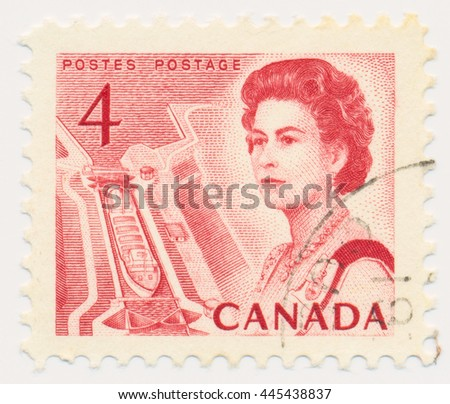 ST. PETERSBURG, RUSSIA - JUNE 29, 2016: A postmark printed in CANADA, shows portrait of Queen Elizabeth II and gateway, circa 1967