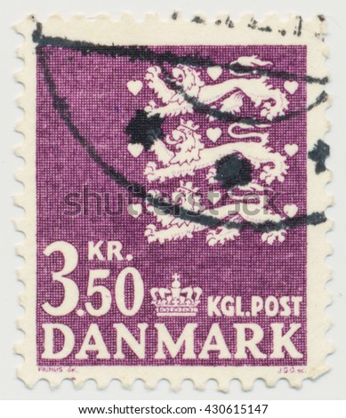 ST. PETERSBURG, RUSSIA - JUNE 1, 2016: A postmark printed in Denmark, shows Par value 3,5 and three lions - detail of the national coat of arms of Denmark, circa 1972