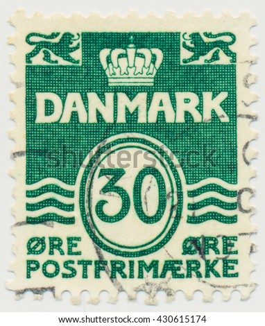 ST. PETERSBURG, RUSSIA - JUNE 1, 2016: A postmark printed in Denmark, shows  Par value 30 in double oval, circa 1967