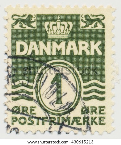 ST. PETERSBURG, RUSSIA - JUNE 1, 2016: A postmark printed in Denmark, shows  Par value 1in double oval, circa 1933