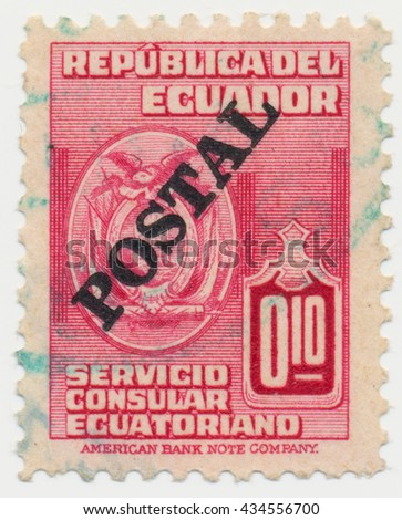 ST. PETERSBURG, RUSSIA - JUNE 8, 2016: A postmark printed in ECUADOR, shows Ecuador coat of arms and  inscription Postal, circa 1950 - stock photo