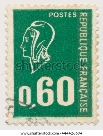 ST. PETERSBURG, RUSSIA - JUNE 28, 2016: A postmark printed in France, shows Marianne, circa 1974