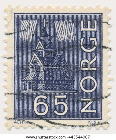 ST. PETERSBURG, RUSSIA - JUNE 26, 2016: A postmark printed in NORWAY, shows Stave church and northern lights, circa 1963