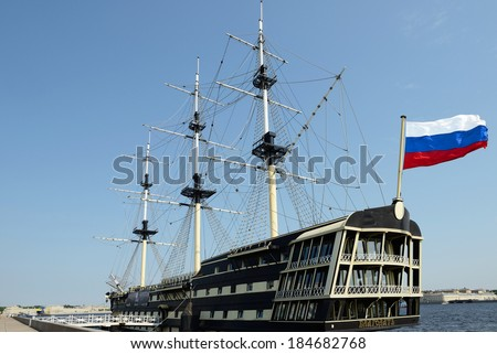 ST PETERSBURG, RUSSIA - JUNE 5,2013:Fantastic upmarket restaurant, based in reconstructed 3 masted beautiful wooden Blagodat Frigate of old Russian Imperial Navy in port in Sankt Petersburg