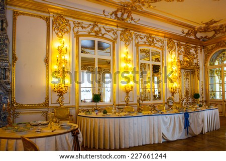 ST.PETERSBURG, RUSSIA - JUNE 24: Interior of Catherine Palace in August 2, 2012 in St.Petersburg, Russia. The former imperial palace. Building is laid in 1717 on orders of Catherine I. Now a museum  - stock photo