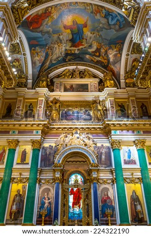 ST PETERSBURG, RUSSIA - JUNE 14, 2014: Interior of Saint Isaac's Cathedral.