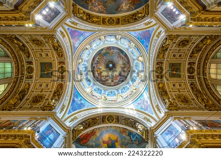ST PETERSBURG, RUSSIA - JUNE 14, 2014: Interior of Saint Isaac's Cathedral. Ceiling and dome. - stock photo