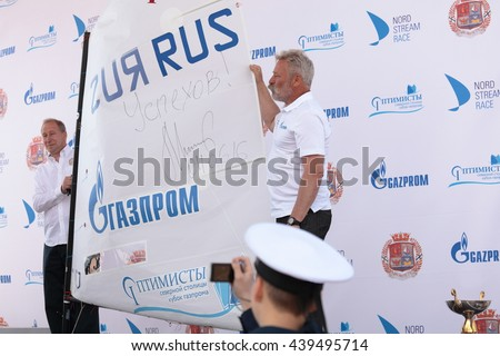 ST. PETERSBURG, RUSSIA - JUNE 4, 2016: Sail of Optimist Dinghy signed by Chairman of Management Committee of Gazprom A. Miller during the award ceremony of competition Optimists Of Northern Capital