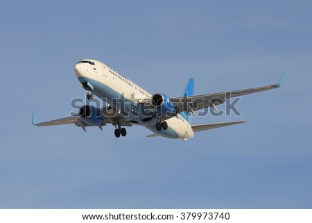 "ST. PETERSBURG, RUSSIA - JUNE 29, 2015: The ""Pobeda"" Boeing 737-8MA (VQ-BTC) before landing in Pulkovo airport"