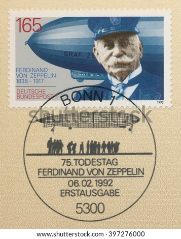 ST. PETERSBURG, RUSSIA - MAR 28, 2016: A first day of issue postmark printed in Bonn, Germany, shows portrait of Ferdinand von Zeppelin (1838-1917),Airship Builder, circa 1992 - stock photo