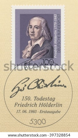 ST. PETERSBURG, RUSSIA - MAR 28, 2016: A first day of issue postmark printed in Bonn, Germany, shows portrait of Friedrich Holderlin (1770-1843), Writer, circa 1993 - stock photo