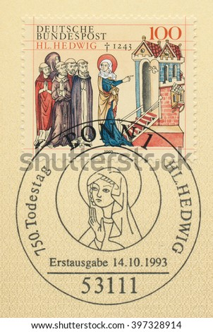 ST. PETERSBURG, RUSSIA - MAR 28, 2016: A first day of issue postmark printed in Bonn, Germany, shows St. Hedwig of Silesia, 750th Death Anniversary, circa 1993 - stock photo