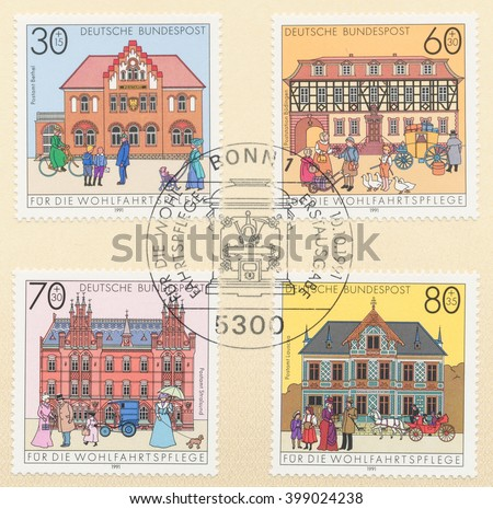 ST. PETERSBURG, RUSSIA - MAR 30, 2016: A first day of issue postmark printed in Bonn, Germany, shows post offices in Bethel, Budingen postal station, Stralsund, Lauscha, circa 1991 - stock photo
