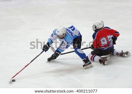 ST. PETERSBURG, RUSSIA - MARCH 25, 2016: Ice hockey match Bobrov vs Piter during the tournament among children's teams League of the Future. Piter won the match 4:2