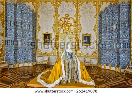 ST PETERSBURG, RUSSIA- march 16, 2015: Life-size paper mache sculpture of Empress Elizabeth Petrovna in her official court attire at Catherine Palace in Tsarskoe Selo (Pushkin), St. Petersburg, Russia - stock photo