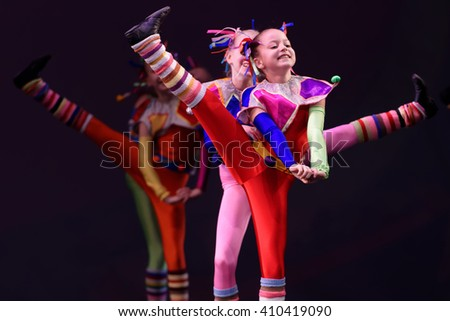 ST. PETERSBURG, RUSSIA - MARCH 28, 2016: Young dancers perform at the opening ceremony of International Festival of Choreographic Art Pari Grand. Artists from 9 countries participated in the festival - stock photo