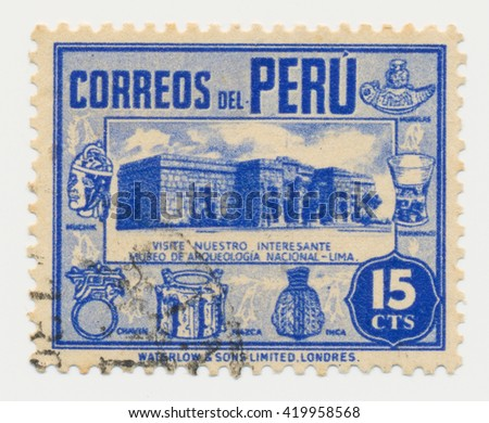 ST. PETERSBURG, RUSSIA - MAY 11, 2016: A postmark printed in PERU, shows Archaeological Museum in Lima, circa 1938