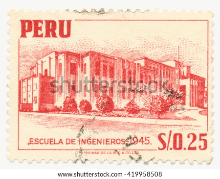 ST. PETERSBURG, RUSSIA - MAY 11, 2016: A postmark printed in PERU, shows College of Engineering in Lima, circa 1952
