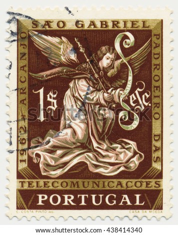 ST. PETERSBURG, RUSSIA - MAY 17, 2016: A postmark printed in PORTUGAL, shows Archangel Gabriel.  Issued for St. Gabriels Day. St. Gabriel is patron of telecommunications, circa 1962 - stock photo