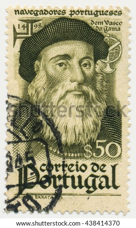 ST. PETERSBURG, RUSSIA - MAY 17, 2016: A postmark printed in PORTUGAL, shows portrait of Vasco da Gama (1469-1524), circa 1944 - stock photo